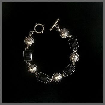 Sterling Silver Bali Bracelet with Rectangular Onyx Stones